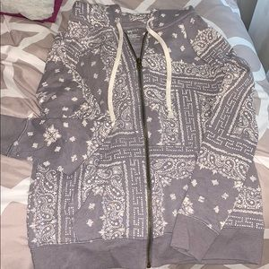 Paisley hooded zip up
